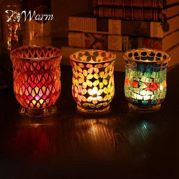 Crystal Glass Carved Candle Holder Tealight for Wedding Party Birthday Dinner Home Table Decoration Gift