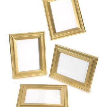 """David Tutera Table Picture Frame Set in Gold - 4 Pieces - 6.5"""" Tall x 5"""" Wide"""