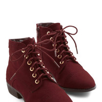 ModCloth Menswear Inspired Charm Beyond Compare Bootie in Wine