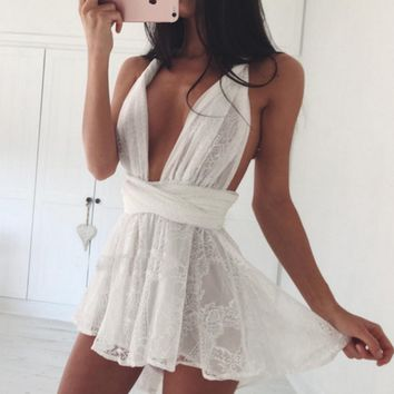 White Lace Bandage Dress 11147