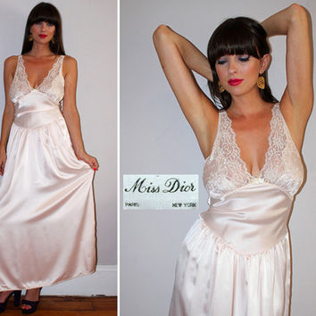 Vintage 80s MISS DIOR Lingerie / Icy Pink Satin + Lace / Sexy Nightie / Hollywood Glam / Plunging Bust / Maxi Length Nightgown / Medium