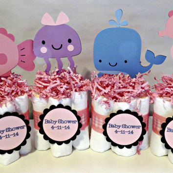 Under the Sea Mini Diaper Cake Centerpieces for baby shower or gift