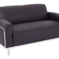 OSP Furniture® Love Seat In Bonded Leather with Chrome Accents