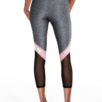 ESBON Victoria's Secret PINK Net yarn Splicing Tight Gym Yoga Running Leggings