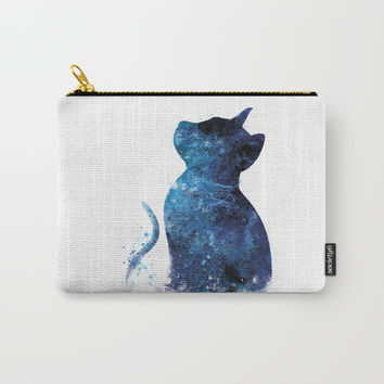 Blue Cat Carry-All Pouch by monnprint
