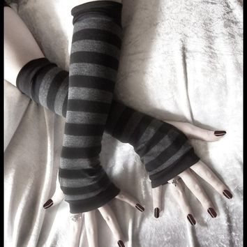 Arm Warmers Gloves in Dark Charcoal Grey Black Stripes - Dusk & Her Embrace - Bellydance Chic Classic Bohemian Yoga Cycling Vampire Light