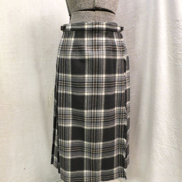 Vintage Kilt Skirt Grey Green White Tartan Plaid Scottish Wool Back Pleated Wrap Skirt Pure Wool Hip Pleats Long Kilt Skirt  Waist 26 inch