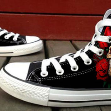 Skull monster logo Canvas Shoes for Women,men by HightShoes