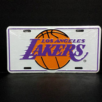 Vintage Lakers Car Vanity License Plate Novelty Vintage Basketball Retro NBA Los Angeles Vehicle Accessories Metal Wall Sign Decor Hanging