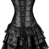 Pandolah Women's Gothic Boned Corset with G-string Bustier ((US Size 6-8) L, Black)