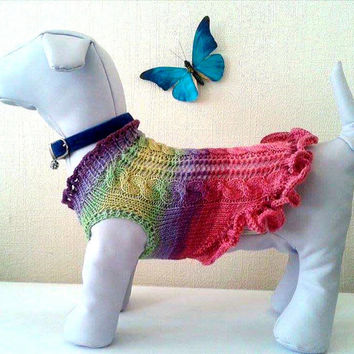 Knit Ukrainian Summer Clothes For Dog. Dog Dress. Pet Knit Clothing. Knitted Season Dog Clothes. Size L