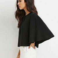 Black Bell Sleeve Loose Cape Blouse