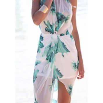 White Mint Green Floral Leaf Sleeveless Scoop Neck Slit Front Maxi Dress