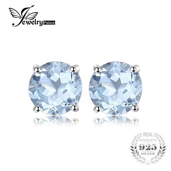 JewelryPalace Round 2ct Natural Sky Blue Topaz Birthstone Stud Earrings Genuine 925 Sterling Silver 2016 Fine Jewelry For Women