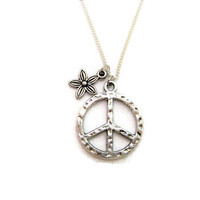 Flower  Necklace Peace Sign Necklace Peace Necklace Peace Sign Jewelry Peace Jewelry  Necklace Flower Jewelry Love Necklace