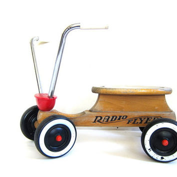 Vintage Radio Flyer 4 Wheel Cycle - Toddler Trike / wooden bike scooter