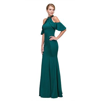 Cold Shoulder High Neckline Mermaid Prom Gown Hunter Green