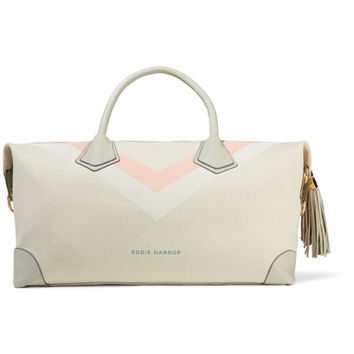 Eddie Harrop - Voyager leather-trimmed printed canvas weekend bag