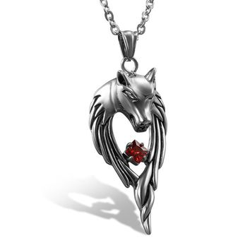 SHIPS FROM USA New Biker Motorcycle Enthusiast Sliver Stainless Steel Wolf Pendant Necklace Men's Charm Jewelry Party Gift, Punk Rock