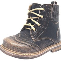 DCK7YE Emel Girl's & Boy's Brown Gold Distressed Shimmer Leather Lace Up Side Zipper High Top