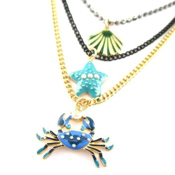 Blue Crab Starfish Sea Shell Sea Creatures Themed Multi Layered Necklace