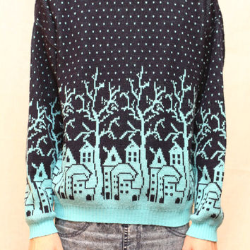Ugly Christmas sweater - Mens, Womens hipster teal turquoise holiday cosby sweater pullover - Size Large Medium - Chirstmas gift