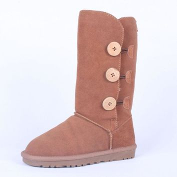 """UGG"" Women Fashion Wool Snow Boots Calfskin Shoes cute three Button Chestnut"