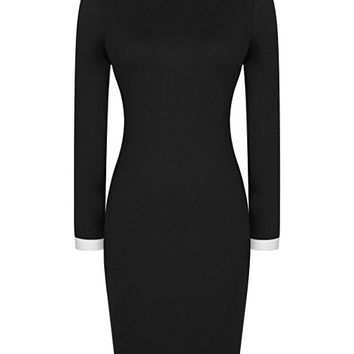 Women's Casual Polo Neck Long Sleeve Slim Bodycon Pencil Dress