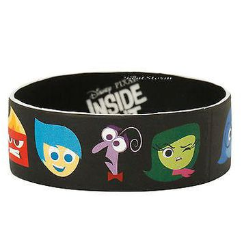 "Licensed cool NEW Disney PIXAR INSIDE OUT MOVIE Character Heads 1"" Rubber Wristband Bracelet"