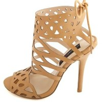 HeartSoul Laser Cut-Out Tie-Back High Heels