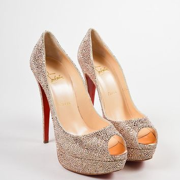 HCXX Pink Crystal Christian Louboutin   Lady Peep Strass 150   Pumps