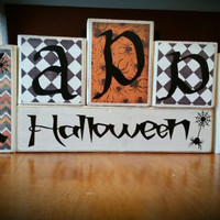 Happy Halloween Spooky Spider Custom Reversible Wooden Block Set-Choose from any of our other designs for your other side or msg us!