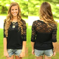 The Lace Of Love Top in Black