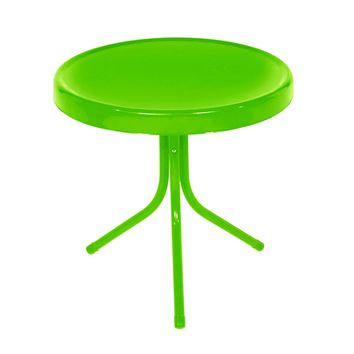 Outdoor Retro Metal Tulip Side Table Lime Green