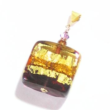 Murano Glass Amber Amethyst Square Pendant Necklace, Venetian Glass Jewelry