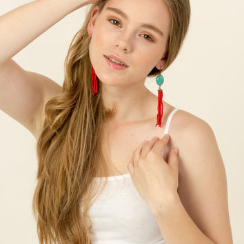 Earrings, beaded tassel, turquoise and red glass. Check homepage for sale code