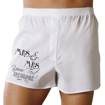 Personalized Mrs and Mrs Lesbian Wedding - Name- Established -Date- Design Boxer Shorts