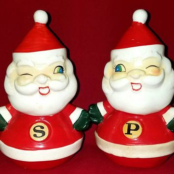 Vintage Holiday-Holt Howard-Salt and Pepper Shakers-Winking Santa
