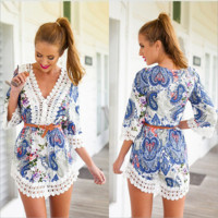 printed v-neck lace dress