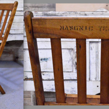 Masonic Temple Wood Folding Chair, Wooden Folding Chair, Antique Chair