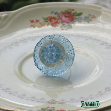 Vintage Button Adjustable Ring Blue Glass Flower Upcycle Repurpose