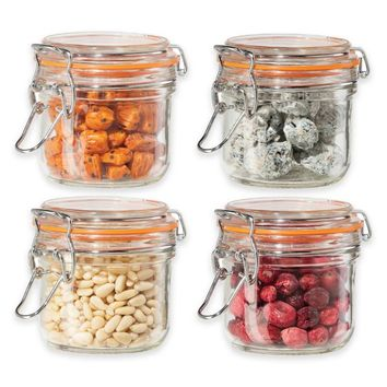 Oggi™ 4-Piece Glass Canisters with Clamp Lid Set