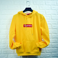"""Supreme""""Champion""Contracted hooded sweater yellow"