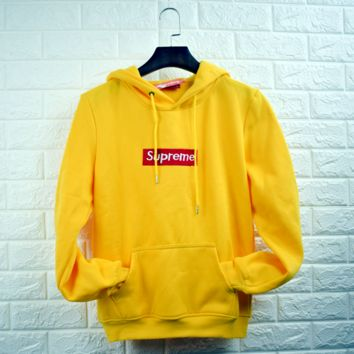"""""""Supreme""""""""Champion""""Contracted hooded sweater yellow"""
