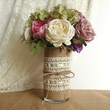 burlap and lace covered glass vase, wedding decoration, bridal shower decoration, home decoration, gift or for you