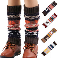 Winter Deer Patchwork Knitted Leg Warmers (4 Colors)