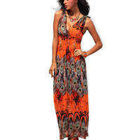 Orange Deep V-Neck Lace Shoulder Empire Waist Peacock Print Maxi Dress