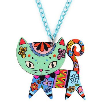 Bonsny Acrylic Cat Necklace Pendant Chain Choker New Fashion Jewelry For Women Spring Cute Animal Charm Collar Accessories