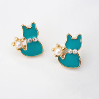 Jade Cat Earrings
