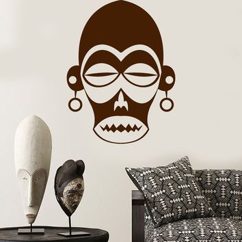Vinyl Wall Decal African Mask Ethnic Decoration Room Africa Stickers Unique Gift (ig4041)